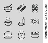 lunch icons set. set of 9 lunch ... | Shutterstock .eps vector #615577880