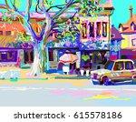plein air digital painting of... | Shutterstock .eps vector #615578186