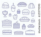collection of cute doodle... | Shutterstock .eps vector #615579590