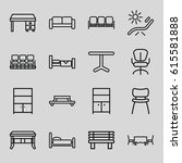 furniture icons set. set of 16... | Shutterstock .eps vector #615581888