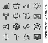 broadcast icons set of 16... | Shutterstock .eps vector #615582776