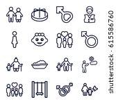 boy icons set. set of 16 boy... | Shutterstock .eps vector #615586760