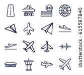 plane icons set. set of 16... | Shutterstock .eps vector #615587840