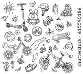 doodle sketch sporting goods... | Shutterstock .eps vector #615590186