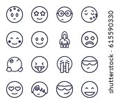 cheerful icons set. set of 16... | Shutterstock .eps vector #615590330