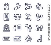 holding icons set. set of 16... | Shutterstock .eps vector #615591110