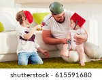 father with sons playing in war ... | Shutterstock . vector #615591680