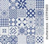 big vector set of tiles... | Shutterstock .eps vector #615593603