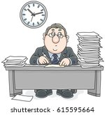 clerk with documents | Shutterstock .eps vector #615595664
