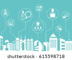 business management icons with... | Shutterstock .eps vector #615598718