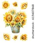 watercolor sunflowers bouquet ... | Shutterstock . vector #615607868