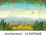 nature landscape with... | Shutterstock .eps vector #615609668