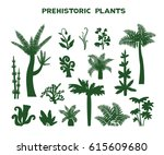 set with silhouette of... | Shutterstock .eps vector #615609680