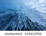 icicles in the rocky caves at... | Shutterstock . vector #615611936