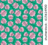 seamless pink doodle pattern... | Shutterstock .eps vector #615614900