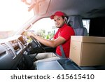 parcel delivery man drive a car ... | Shutterstock . vector #615615410