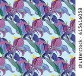 vector iris flowers. seamless... | Shutterstock .eps vector #615616058