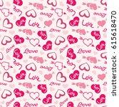 love theme hearts valentine's... | Shutterstock .eps vector #615618470