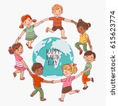 happy kids holding hands and... | Shutterstock .eps vector #615623774