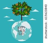 happy earth day vector... | Shutterstock .eps vector #615623840