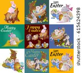 set of easter egg hunt bunny... | Shutterstock .eps vector #615624398