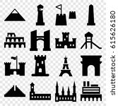 landmark icons set. set of 16... | Shutterstock .eps vector #615626180