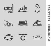 set of 9 sea outline icons such ... | Shutterstock .eps vector #615627518