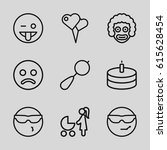 happiness icons set. set of 9... | Shutterstock .eps vector #615628454