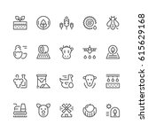 set line icons of farming and... | Shutterstock .eps vector #615629168