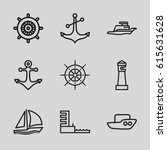 nautical icons set. set of 9... | Shutterstock .eps vector #615631628