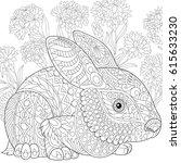 stylized rabbit  bunny  hare ... | Shutterstock .eps vector #615633230