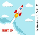 start up of the space rocket.... | Shutterstock .eps vector #615636179