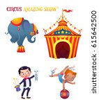 circus cartoon characters set.... | Shutterstock .eps vector #615642500