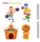 circus cartoon characters set.  ... | Shutterstock .eps vector #615642506
