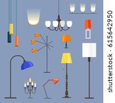 vector set. flat art. table... | Shutterstock .eps vector #615642950
