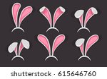easter bunny ears mask set.... | Shutterstock .eps vector #615646760