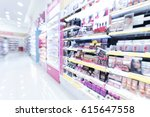 blurred image of cosmetic shop. ... | Shutterstock . vector #615647558