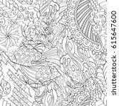 tracery seamless pattern.... | Shutterstock .eps vector #615647600