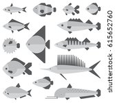 set of illustrations of fish of ... | Shutterstock .eps vector #615652760