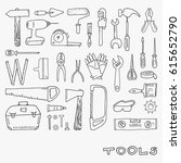 set of hand drawn tool doodles  ... | Shutterstock .eps vector #615652790