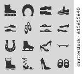 shoe icons set. set of 16 shoe... | Shutterstock .eps vector #615655640