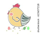 easter card with hen | Shutterstock .eps vector #615657218