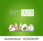 easter poster with eggs and... | Shutterstock .eps vector #615658109