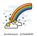 rainbow with stars and clouds... | Shutterstock .eps vector #615660830