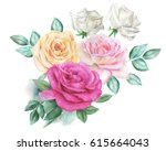 watercolor roses | Shutterstock . vector #615664043