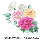 watercolor roses | Shutterstock . vector #615665669