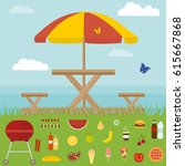 picnic in nature with awning... | Shutterstock .eps vector #615667868
