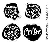 collection of coffee hand draw... | Shutterstock .eps vector #615668414