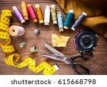 scissor  buttons  zip  tape... | Shutterstock . vector #615668798