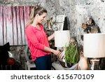 female customer in furniture... | Shutterstock . vector #615670109